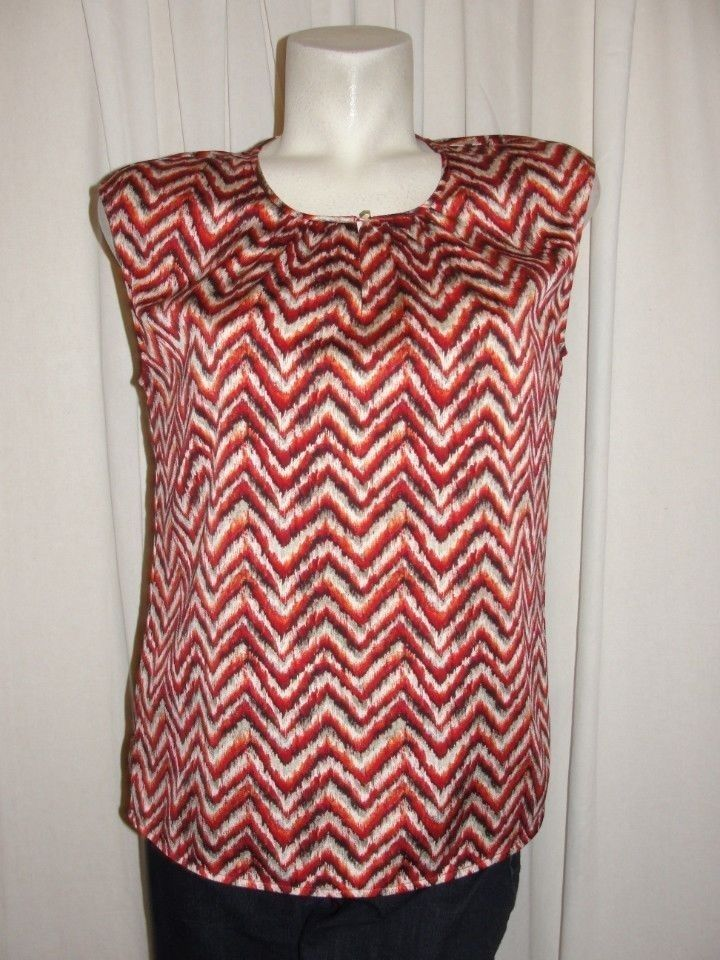 BLACK LABEL by CHICOS Blouse 4/6 Rust Red Brown Chevron Polyester Top Size 0 S #Chicos #Blouse #Career