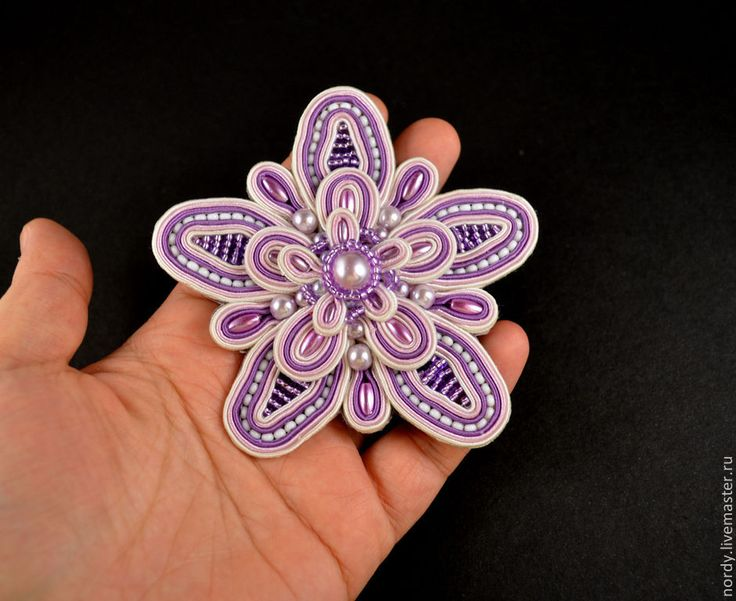 "Сутажная брошь ""Violet"". Handmade."