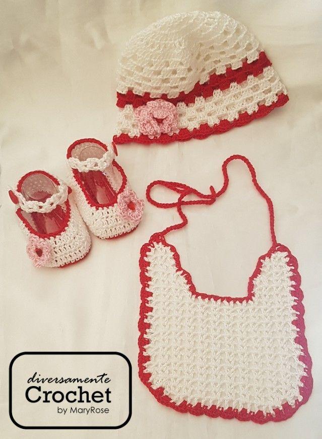 Set Di Cotone Cappello Scarpine Bavette Per Baby Lavorati A