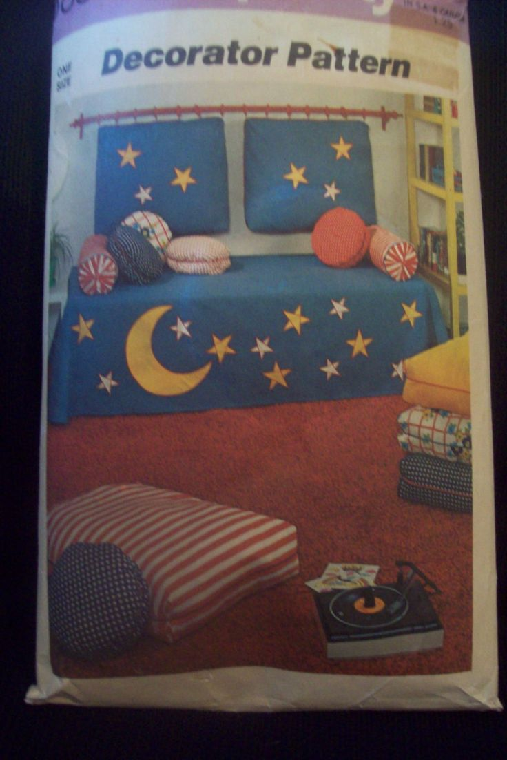 Vintage Bedspread, Bolster Cover, Headboard, Floor Pillow Pattern 1970s Simplicity Pattern 5888  Moon & Stars by TheGreatPatterns on Etsy