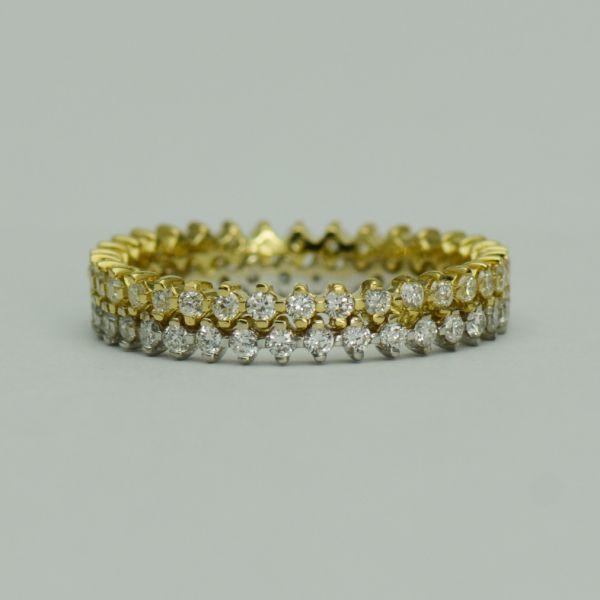 Inel din aur galben si alb cu diamante