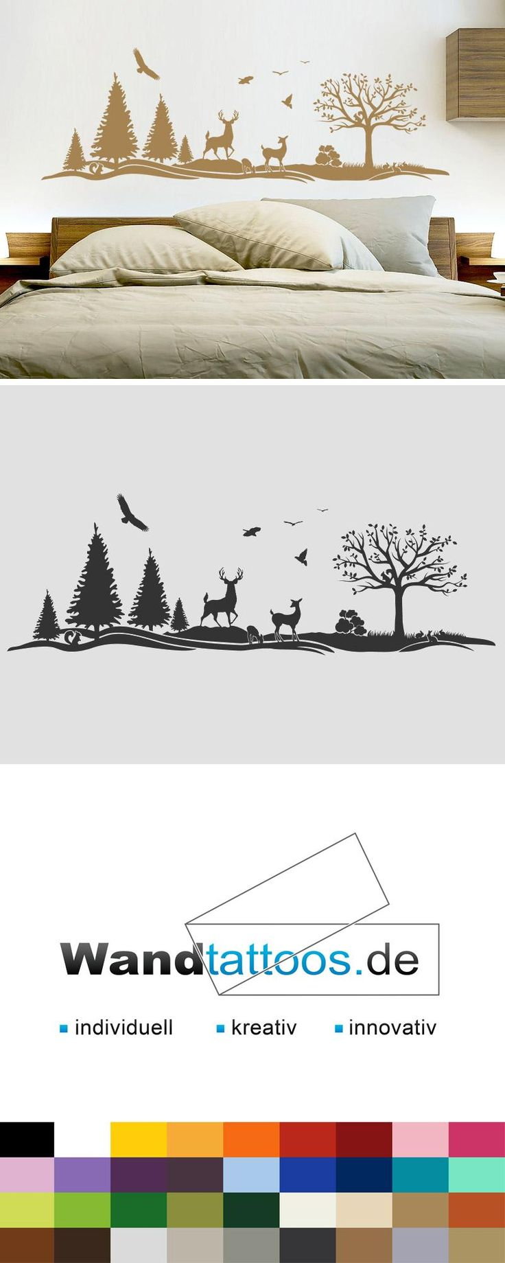 Wandtattoo Wald als Idee zur individuellen Wandgestaltung. Einfach Lieblingsfarbe und Größe auswählen. Weitere kreative Anregungen von Wandtattoos.de hier entdecken!
