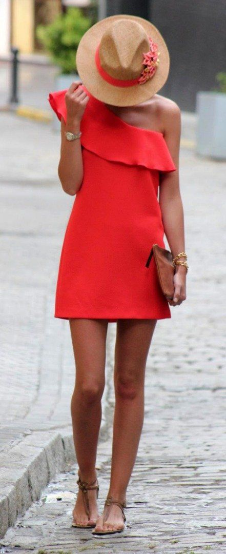 Red Outfits   Off shoulder dress