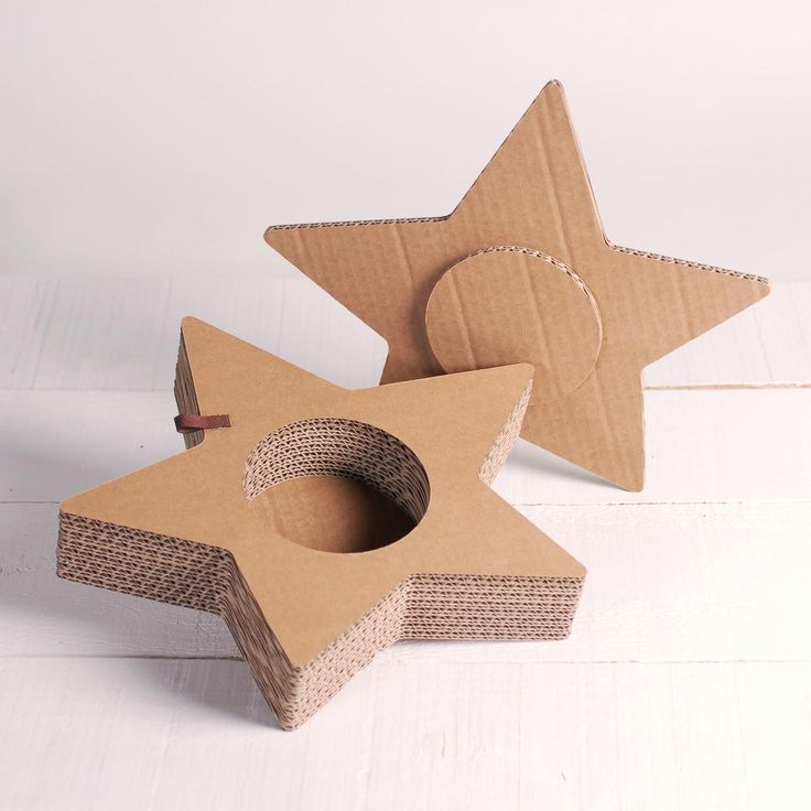 Star-shape cutout from recycled cardboard boxes..easily made for packaging..