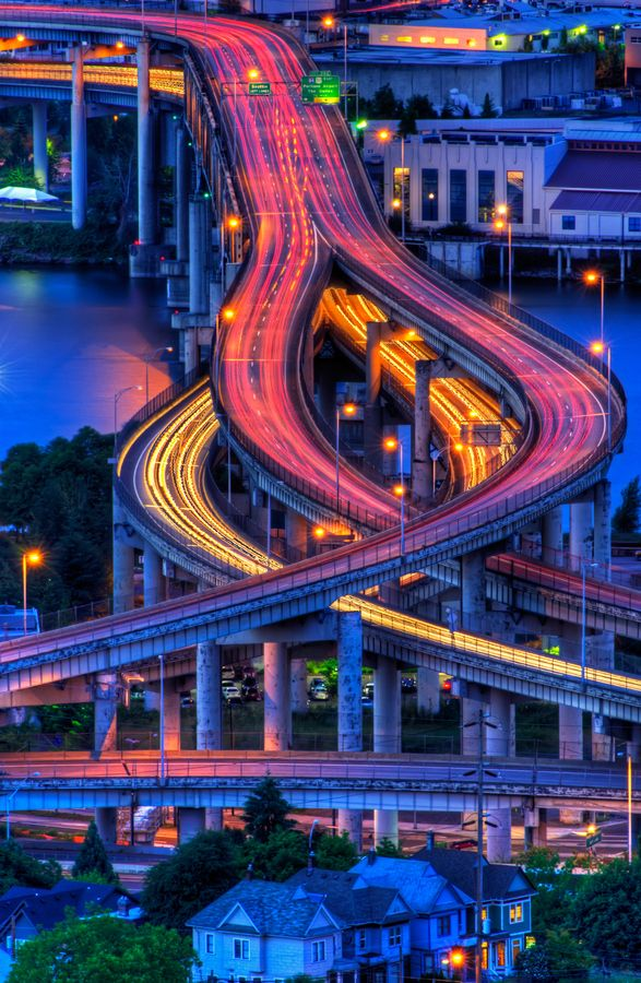 Portland, Oregon. Marquam Bridge at Night by Michael Wilson, via 500px