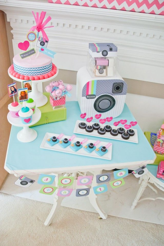 Instagram party idea for girls. Bright, fun colors with a classic, vintage vibe. (for Nevaeh)