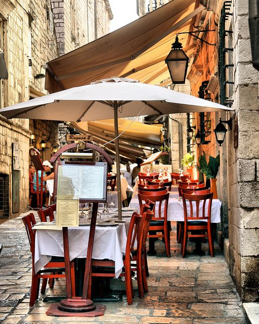 Streetside restaurant in the old town of Dubrovnik, Croatia