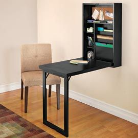 Fold-down desk with storage