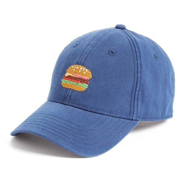 Opening Ceremony 'Burger' Cap ($40) ❤ liked on Polyvore featuring accessories, hats, navy, cotton hat, opening ceremony, strap hats, crown hat and navy cap