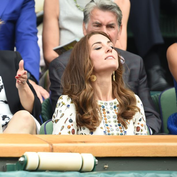 Old man; Is that Herbal Essences - Rose Hips, Jojoba Extracts & Vit.E, I smell?   Kate; It's Vidal Sassoon, I don't do peasant. Yes... Smell it... Smell!!! I say!     mirror: Men's Finals, Wimbledon, July 10, 2016-Duchess of Cambridge