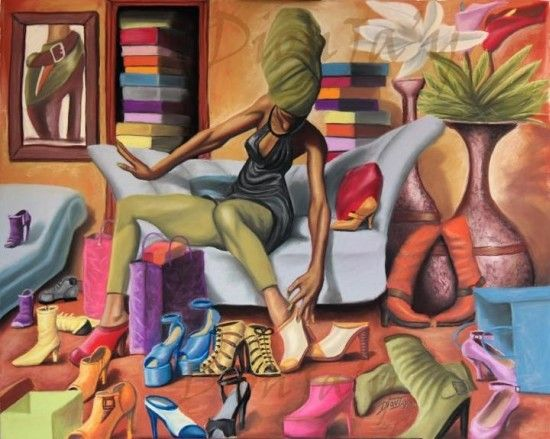 """""""Shoe Addict"""" by Dion J. Pollard. I know at lot of women that would fit this description LOL! A great piece of African-American art by the artist DionJ'ay aka Dion J. Pollard."""