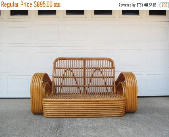 ON SALE Mid Century Rattan Tiki Furniture Loveseat, Bentwood by DaveysVintage on Etsy https://www.etsy.com/listing/460282164/on-sale-mid-century-rattan-tiki
