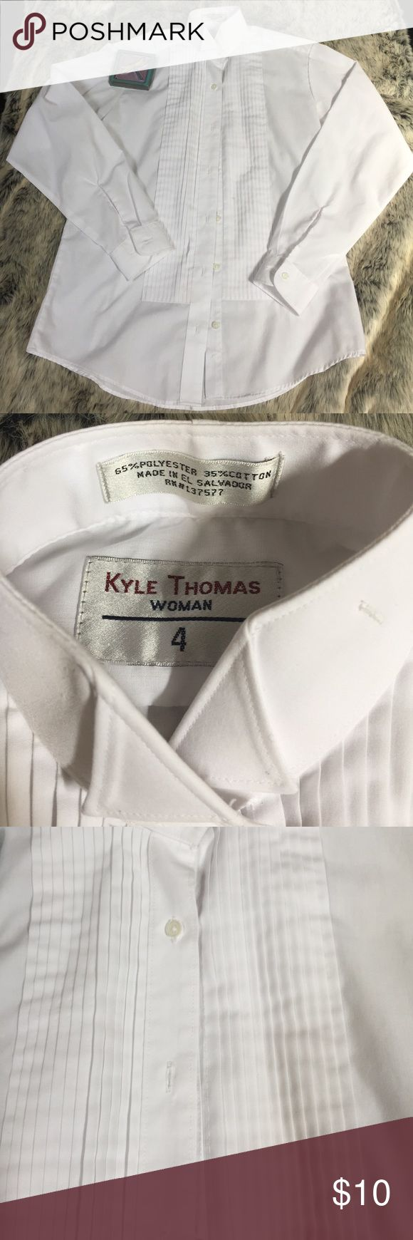 Tux shirt Gently loved white tux shirt.  Size 4 woman or XS!  Great condition! Kyle Thomas Tops Button Down Shirts