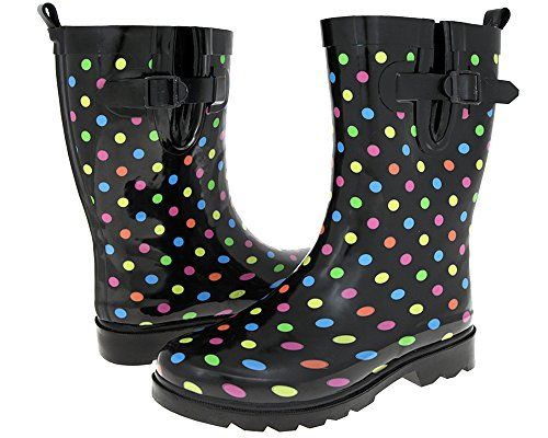 Capelli New York Gusset  Back Pull Loop with Cozy Lining MidCalf Womens Rain Boot Black Combo 10 >>> Check out the image by visiting the link.