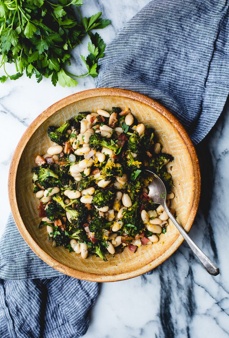 Roasted Broccoli and Lemony White Beans with Bacon Recipe {gluten-free, nut-free, dairy-free}