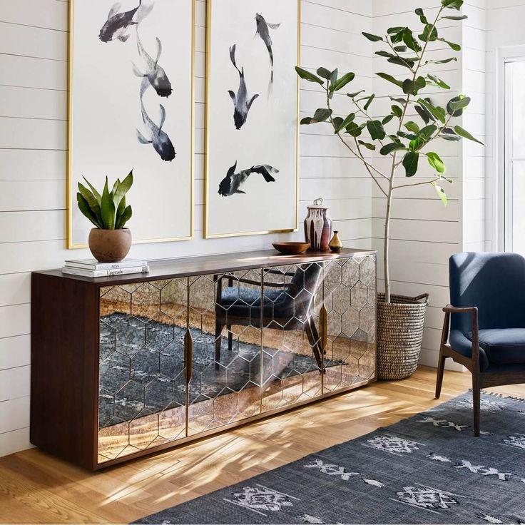 Honeycomb Walnut Antique Mirrored Buffet Sideboard 12