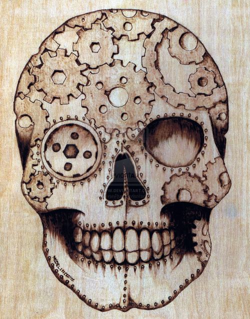 Steampunk sugar skull by deven rue nuts bolts cogs for Easy steampunk ideas
