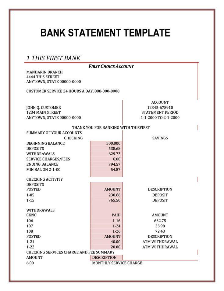23 Editable Bank Statement Templates Free ᐅ Template Lab For Blank Bank Statement Template Download Credit Card Statement Statement Template Bank Statement