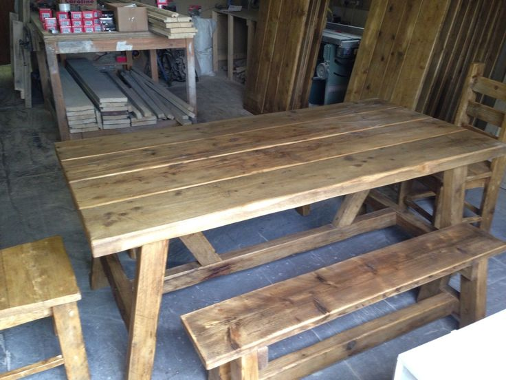BEAUTIFUL RUSTIC OLD WORLD RECLAIMED TIMBER TRESTLE TABLE Made Up To 7 Ft X  3ft |