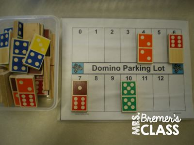 Domino Parking Lot- a FREE math center activity to practice addition skills in…