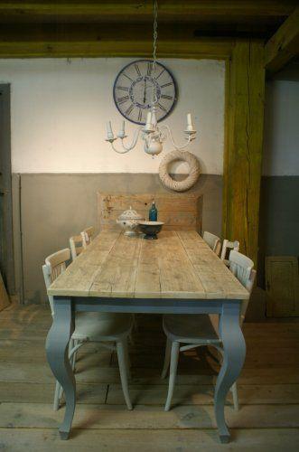 Eettafel Queen, Frans blauw, in de witte olie