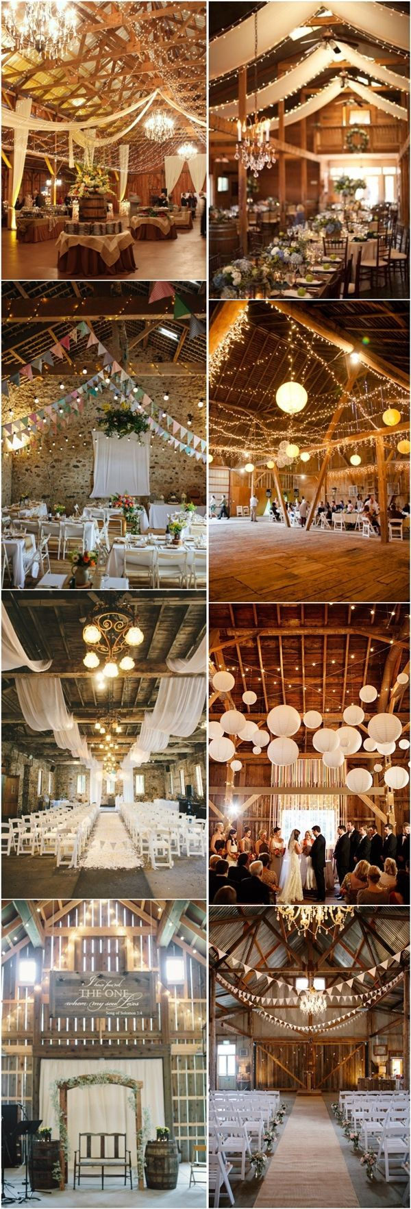 30 Romantic Indoor Barn Wedding Decor Ideas with Lights | 30 Romantische Ideen…