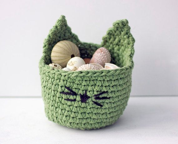 Easter Basket Kitty  Basket Cat Basket Hand by beadedwire on Etsy