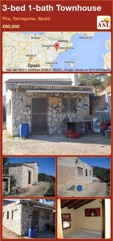 3-bed 1-bath Townhouse in Flix, Tarragona, Spain ►€80,000 #PropertyForSaleInSpain
