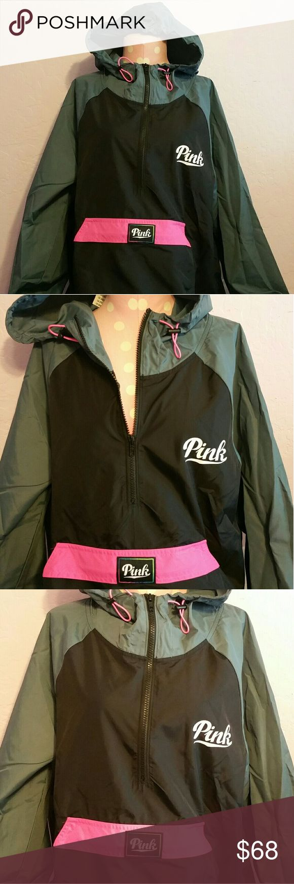 Victoria's Secret PINK Anorak Jacket Windbreaker Brand new with tag! HARD TO FIND COLOR! Victoria's Secret PINK Anorak Jacket Windbreaker Pullover Colors are....Black, Grey, Pink & White Size is MEDIUM/LARGE Victoria's Secret Jackets & Coats
