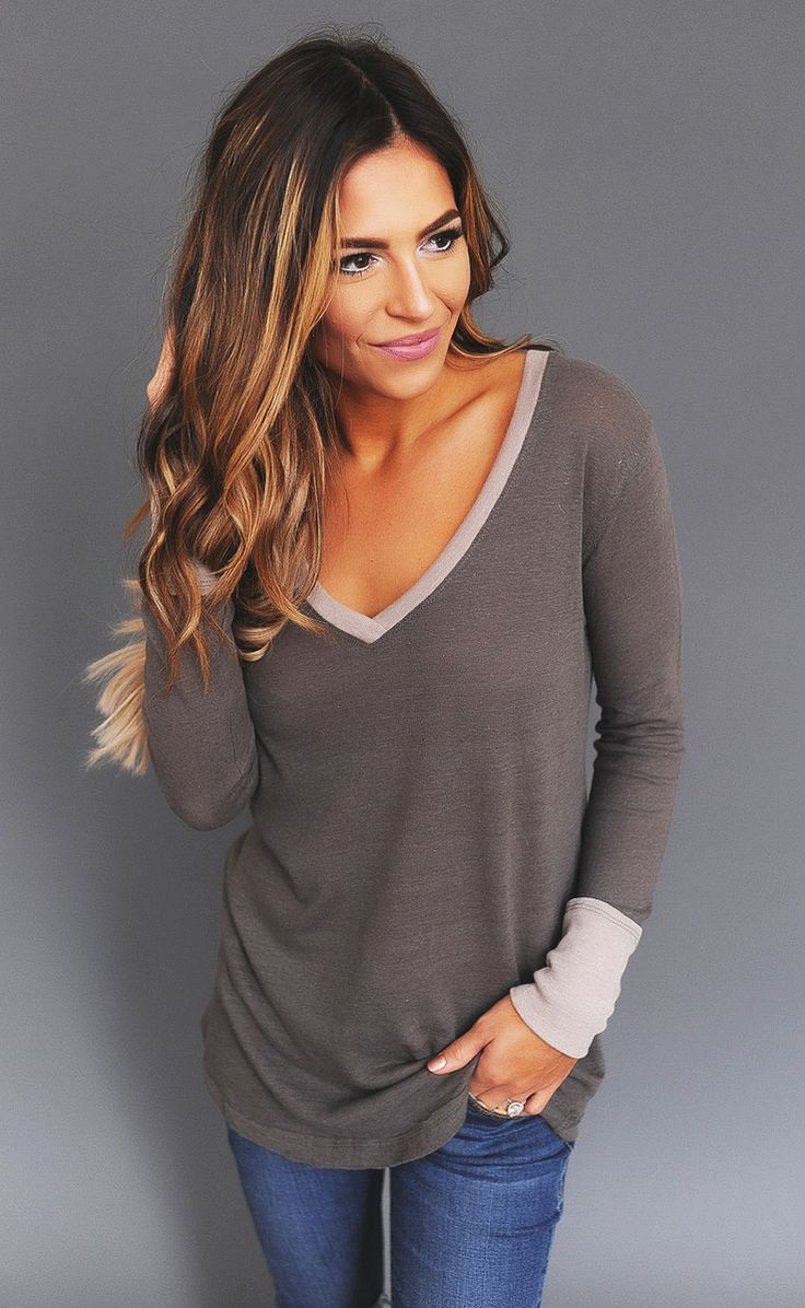 Olive/Taupe Trim V Neck Long Sleeve - Dottie Couture Boutique