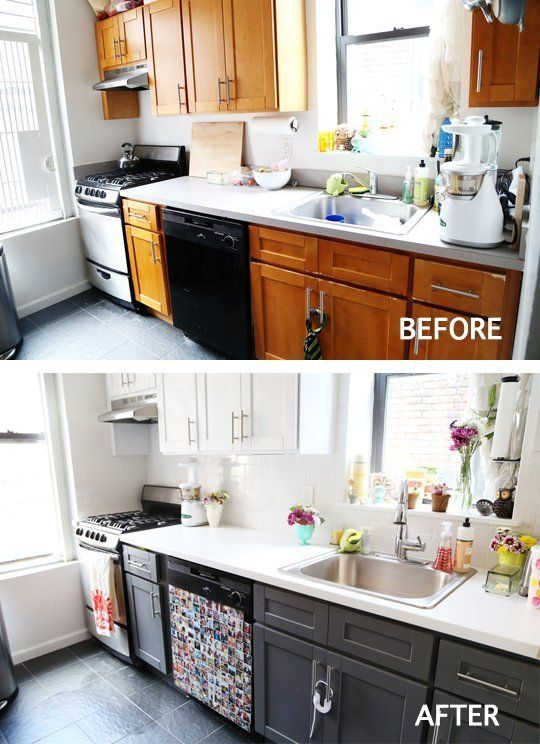 Before & After: 8 Kitchen Makeover Projects from Around the Web | Apartment Therapy.....Love the Instagram magnets covering the outdated dishwasher.