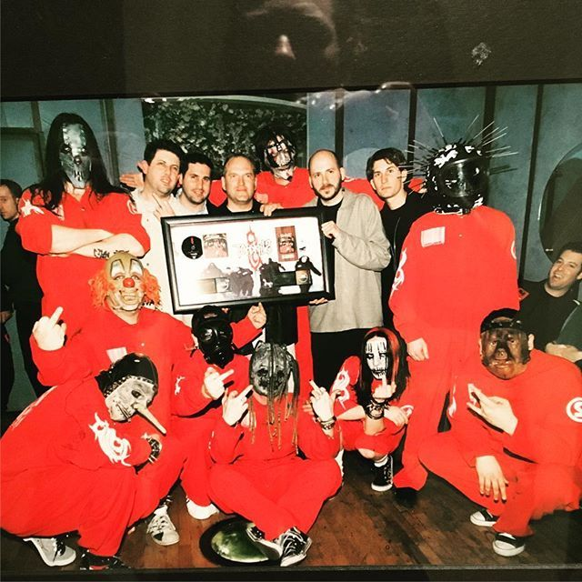 Feb. 25, 2000: 1st gold plaque for S/T Slipknot album AND platinum award for home vid (yes, they had those). Taken at the old Limelight in NYC. And yes, that is a reflection of me taking a pic of this pic- it's hangin on my wall. Thought I'd share. #eyehaycha #oldAF #stillbadasteroid
