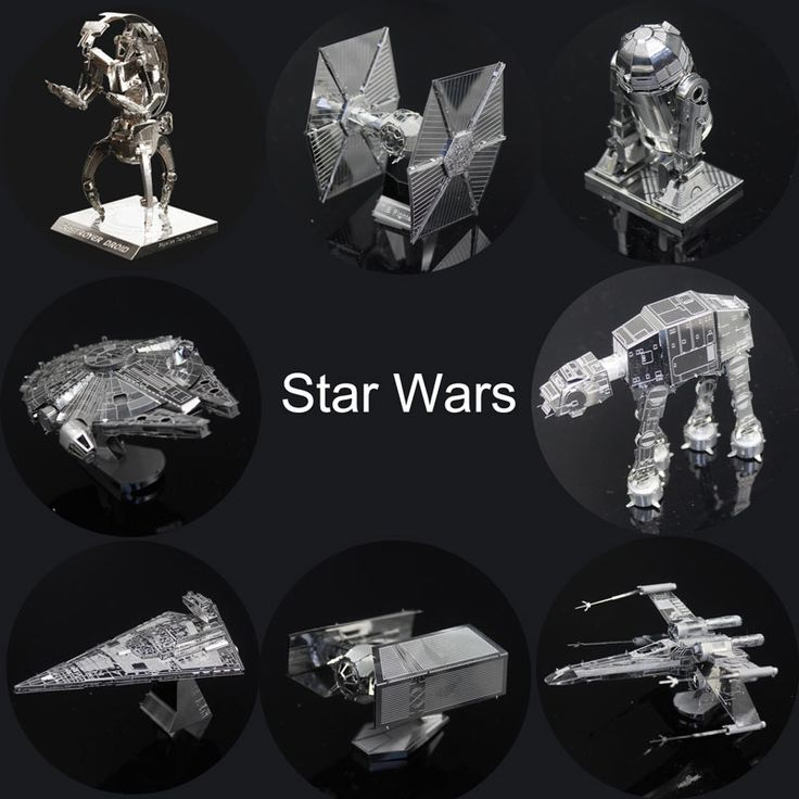 Star Wars 3D Metal Puzzles Assemble DIY R2D2 Tie Xwing Fighter Millennium Falcon Model Toys New Year Gift