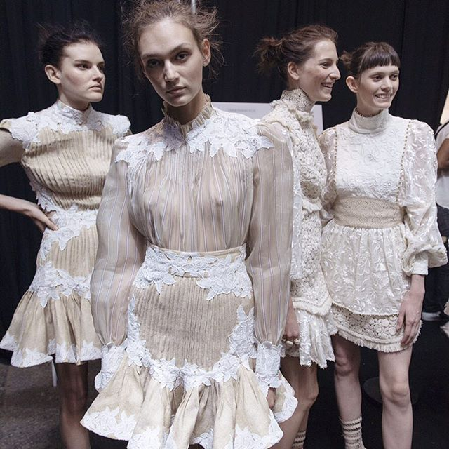 Sheer lace, ruffles and high collars create a Victoriana feel at @zimmermann_ #SS16 #NYFW