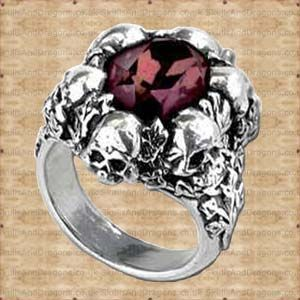 Large deep burgundy faceted Swarovski crystal mounted in a circle of ivy grown skulls. This skull ring is also available in sizes L,N,Q,T  The Shadow of Death Ring by Alchemy in the Skulls and Dragons rings range.    Made from pewter    Ref : SDR105   Price : 15.99 GBP