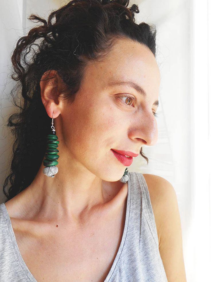 Dangle & Drop Earrings,Green Leather earrings,handmade-geometry collection,genuine leather,clay bead,personalized earrings,Free Shipping by konstcreations on Etsy