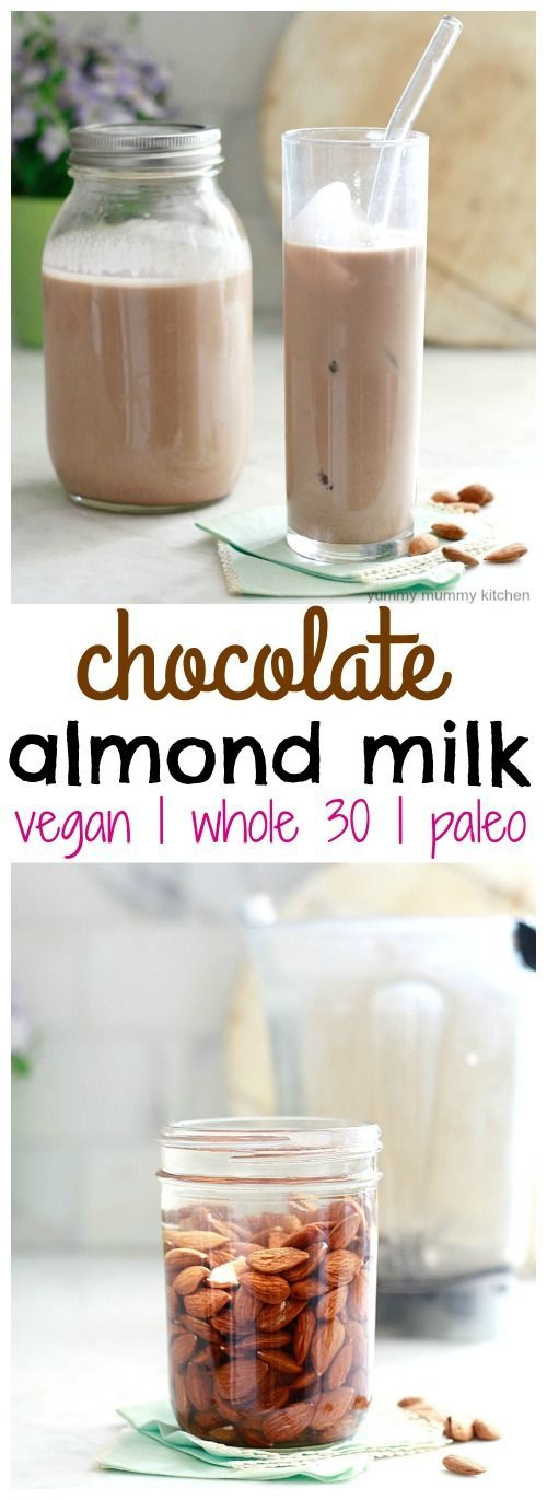 This healthy homemade chocolate almond milk is easy to make and requires just a few simple ingredients. It's free of refined sweeteners, and is vegan, paleo, and whole-30 approved.