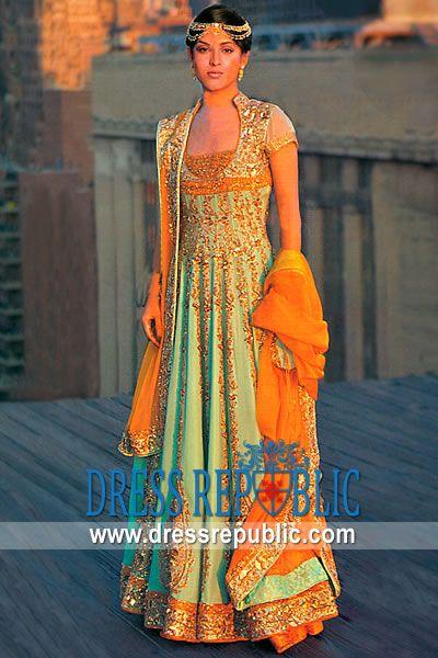 Aqua Belfort, Product code: DR4480, by www.dressrepublic.com - Keywords: Pakistani Long Gowns, Pakistani Designer Long Flared Dresses Online 2012 Collection