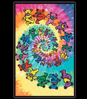 Grateful Dead Spiral Bears Blacklight Responsive Poster Part 74