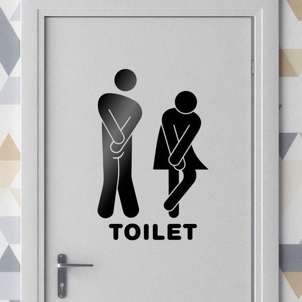 Adesivi murali: Bagno icone divertenti #bagno #wc #toilette #porta #decorare #vinile #poster #StickersMurali