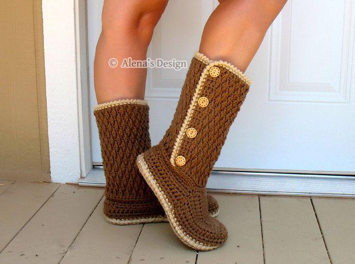 Crochet Boot Pattern - Crochet Pattern 137 for Buttoned Women's Boots - Boot Crochet Pattern - Crochet Slipper Pattern - Adult Winter Boots by AlenasDesign, $6.39 USD