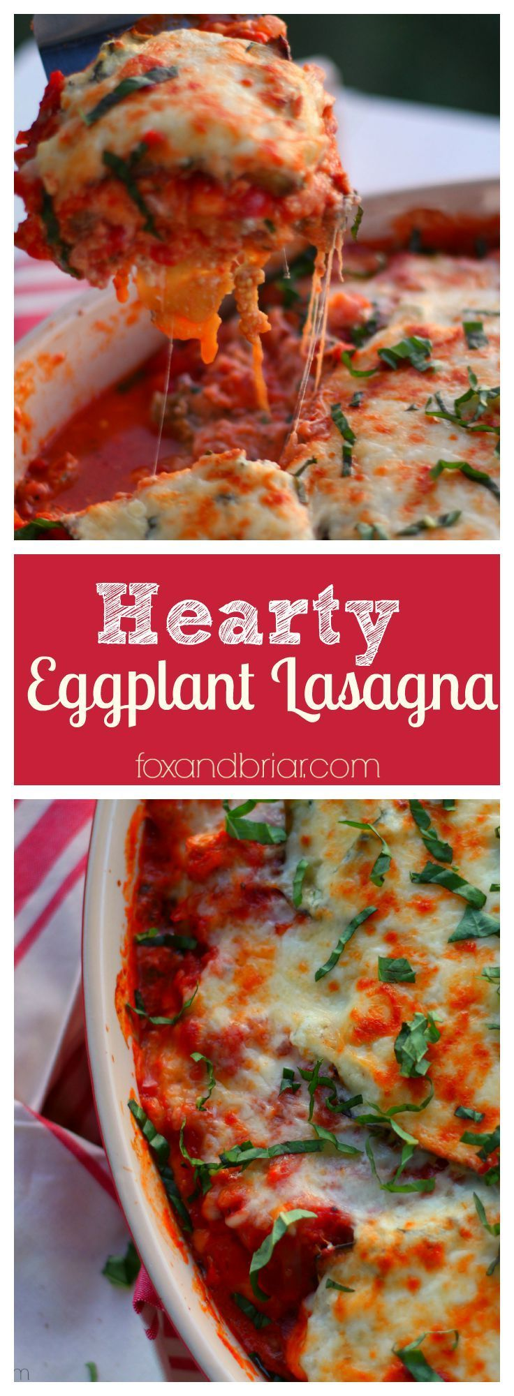 This hearty lasagna uses eggplant instead of pasta. A rich and meaty sauce and creamy cheese make for a satisfying dinner. You won't even miss the pasta.