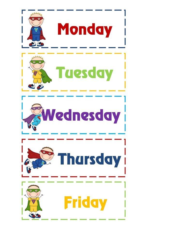 Days+of+the+Week+Printables+Superhero | Superhero ...