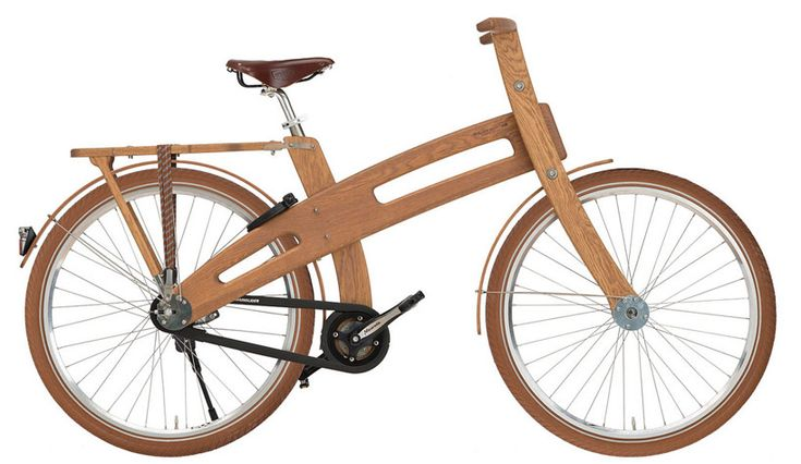 the dutch-designed wooden bicycles offer a smooth ride on city streets