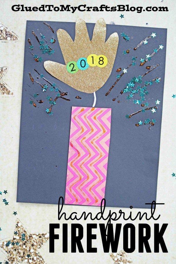 Handprint Firework Keepsake Idea - New Year's Eve Kid Craft DIY
