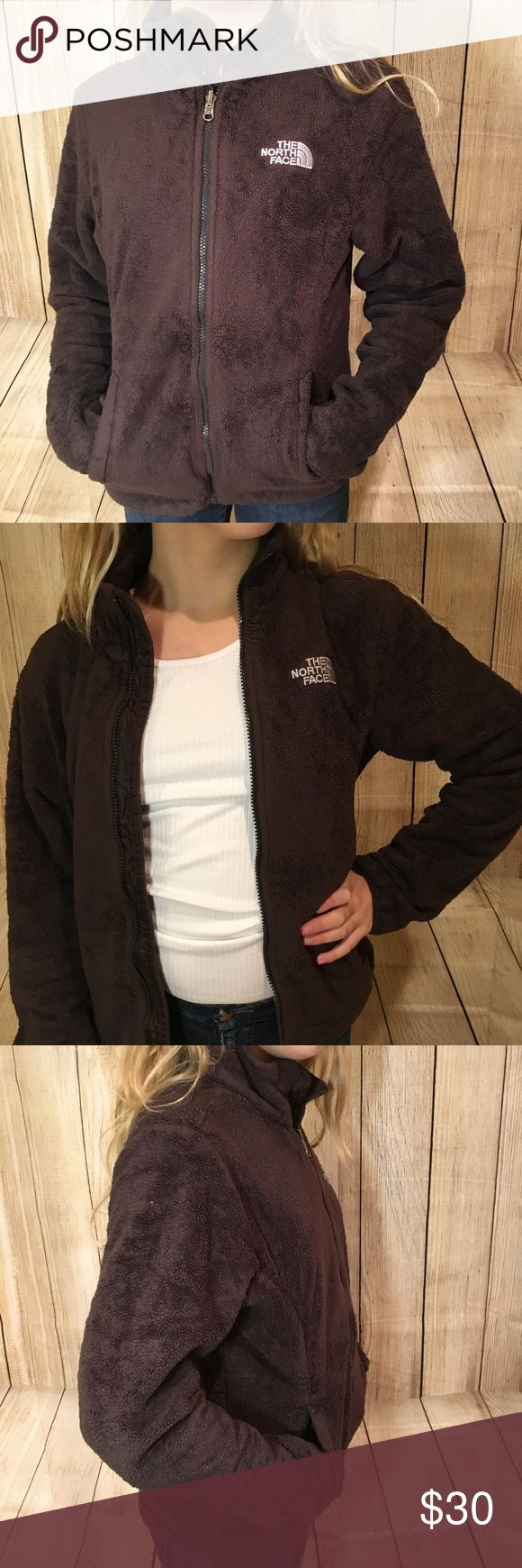 North Face Zip Up Cute dark drown zip up, tag says women's small but fits a little more like an XS. Gently warn condition, no stains or holes.   Please no low ball offers, I work hard to find, clean, inspect, mend and post all unique products, I am working to pay off school loans and always sell my products at great prices😊 The North Face Jackets & Coats