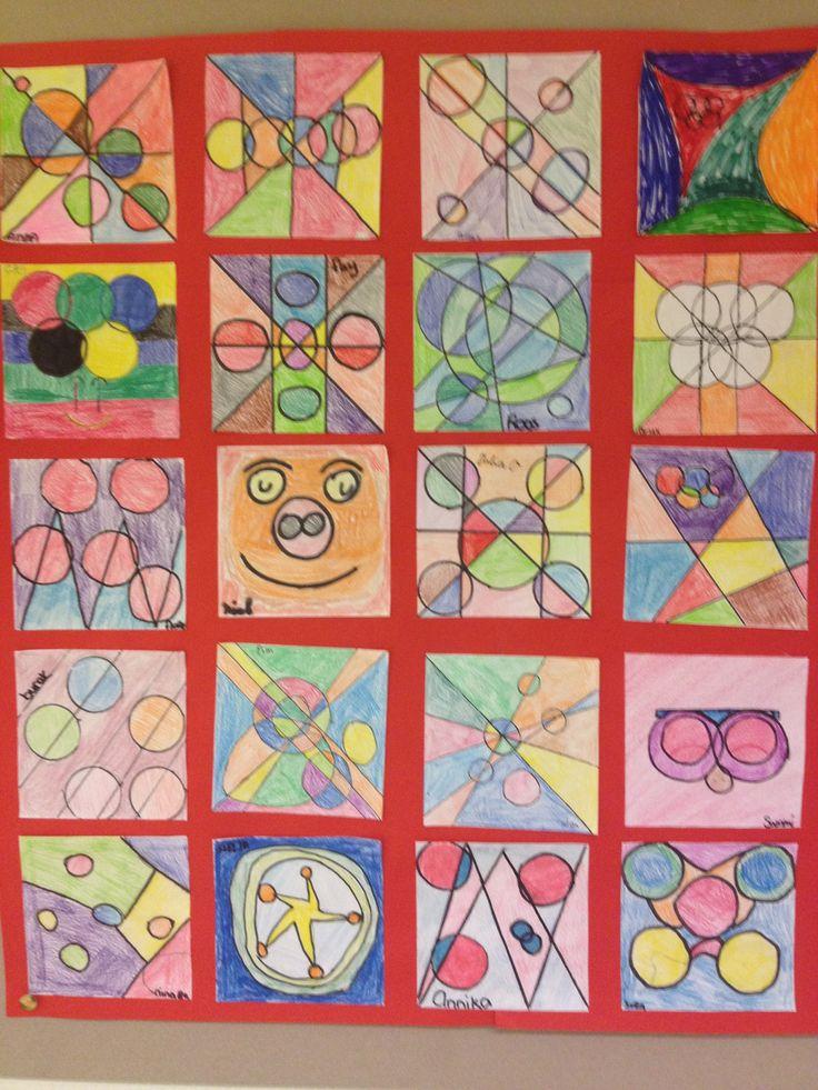 Opdracht: teken 5 cirkels en 5 lijnen. Gemaakt door groep 8