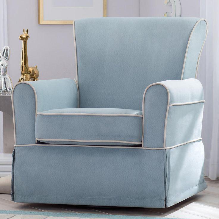 Delta Children Benbridge Nursery Glider Swivel Rocker Chair - Frozen Blue with Cream Welt