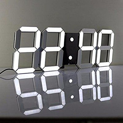 LambTown Télécommande 3D LED Numérique Horloge Murale Avec Plusieurs Alarmes Affichage de la Température du Calendrier Grand Compte à Rebours