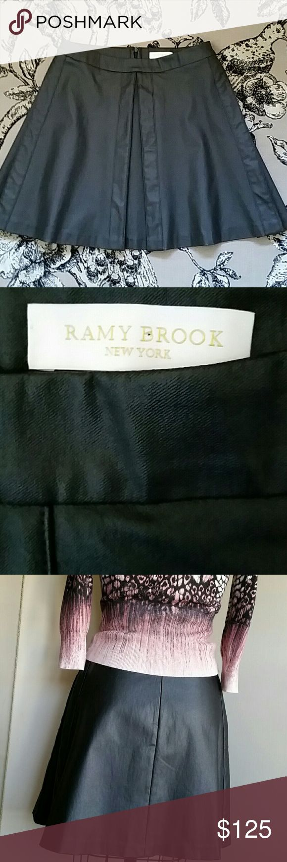 "Ramy Brook Short Skirt w/ Front & Side Pleats 6 Like new, stretch oiled twill material giving a leather like look, pressed with a press cloth so in beautiful ready to wear condition, 14.5"" flat waist, 17"" long, doesn't have size label but fits my size 6 frame. Charcoal to black color. Free Karen Miller top as shown with purchase. Ramy Brook  Skirts Mini"